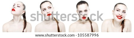 Collage of portraits of beautiful young girl with a professional make-up in the studio on a white background
