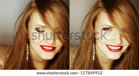 collage of portraits of fashionable red-haired model laughing at camera. close up. studio shot