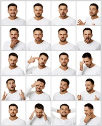 collage of portraits of handsome bearded man with different positive and negative emotions on white background
