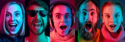Collage of portraits of young emotional people on multicolored background in neon. Concept of human emotions, facial expression, sales. Smiling, listen to music with headphones. Flyer for ad, offer