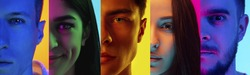 Collage of portraits of young emotional people on multicolored background in neon. Concept of human emotions, facial expression, sales. Close up half faces, beauty, fashion. Flyer for ad, offer