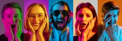 Collage of portraits of young emotional people on multicolored background in neon. Concept of human emotions, facial expression, sales. Laughting, smiling, scared, shocked. Flyer for ad, offer