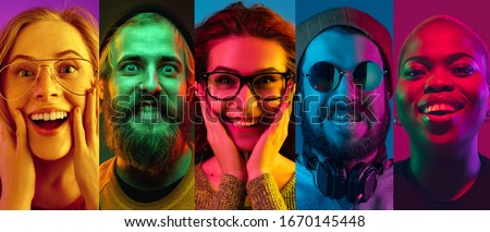 Collage of portraits of young emotional people on multicolored background in neon. Concept of human emotions, facial expression, sales. Smiling, listen to music with headphones. Flyer for ad, proposal
