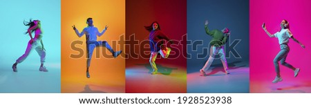 Collage of portraits of young emotional people on multicolored background in neon. Concept of human emotions, facial expression, sales. Listen to music with headphones, dancing. Flyer for ad, offer