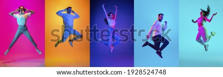 Collage of portraits of young emotional people on multicolored background in neon. Concept of human emotions, facial expression, sales. Jumping high, flying, energy, dancing. Flyer for ad, offer