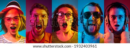 Collage of portraits of young emotional people on multicolored background in neon. Concept of human emotions, facial expression, sales. Astonished screaming, shocked, music listening. Flyer for ad Foto stock ©