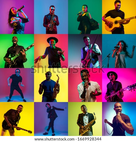 Collage of portraits of young 11 emotional talented musicians on multicolored background in neon light. Concept of human emotions, facial expression, sales. Playing guitar, saxophone, singing, dancing