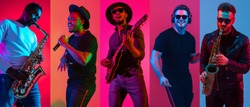 Collage of portraits of young emotional talented musicians on multicolored background in neon light. Concept of human emotions, facial expression, sales. Playing guitar, saxophone, singing, dancing.
