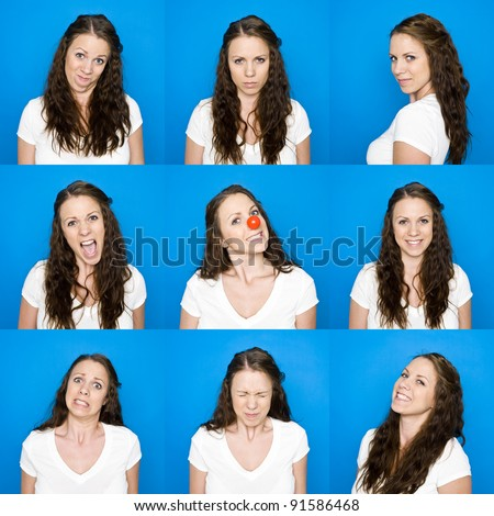 Collage of portraits on a young girl towards blue background