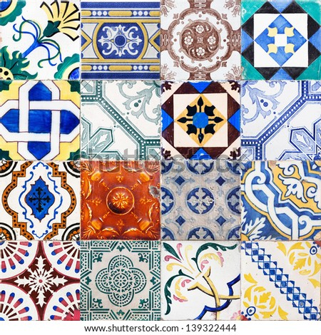 collage of Portuguese tiles from Lisbon