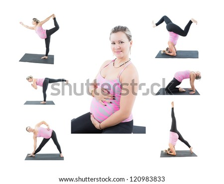 Collage of pregnant fitness woman make stretch on yoga and pilates pose on white background  The concept of Sport and Health
