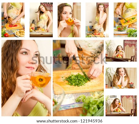 Collage of pregnant woman on kitchen with fresh vegetables.The concept of food and  healthy lifestyle