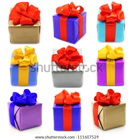 Collage of presents on white background - stock photo