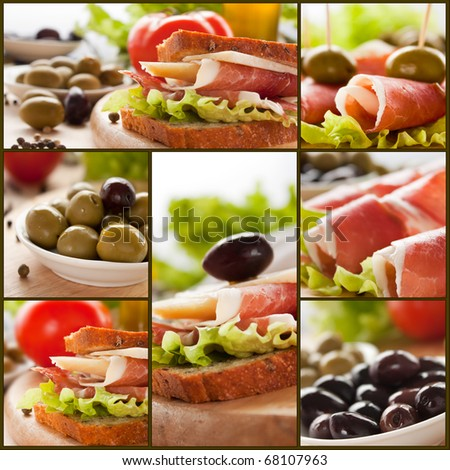 Collage of prosciutto and cheese sandwich with olives and lettuce.