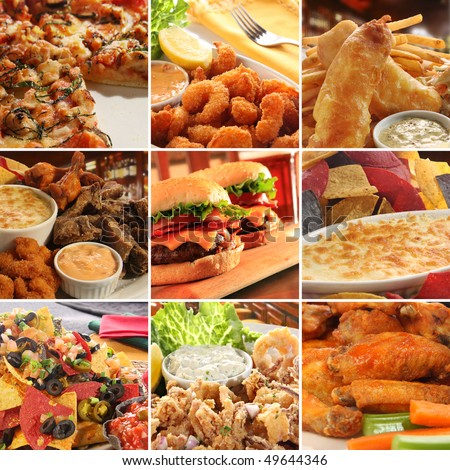 Collage of pub food including cheese burgers, wings, nachos, fries, pizza, ribs, deep fried prawns and calamari.