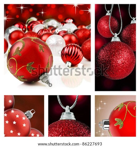 Collage of red  christmas decorations on different backgrounds
