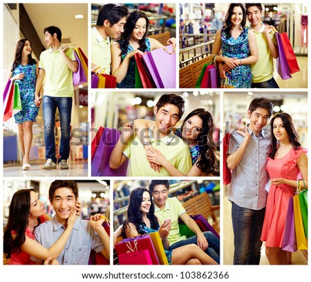Collage of romantic couple with shopping bags spending time in the mall