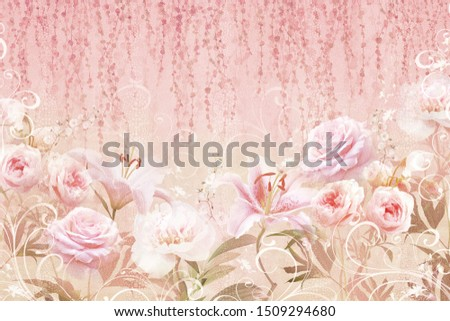 Collage of roses and lilies with dots on a stone texture. Digital mural. Sfondi and Wallpaper.