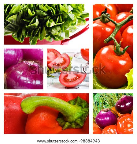 Collage of salad with tomato onion lettuce and red sweet pepper - stock photo