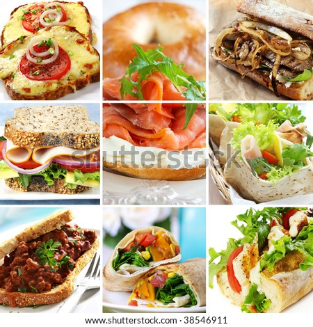 Collage of sandwiches, including wraps, baguettes, bagels, pita and wholewheat bread.