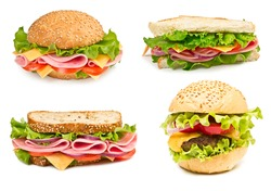 Collage of sandwiches with ham and vegetables isolated on a white background