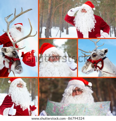 Collage of Santa Claus and his reindeer outdoor in winter