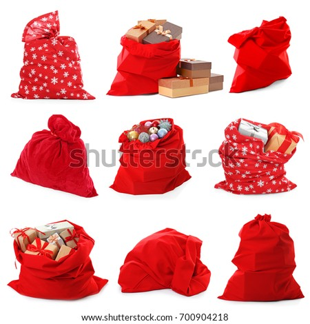 Collage of Santa's bags on white background #700904218