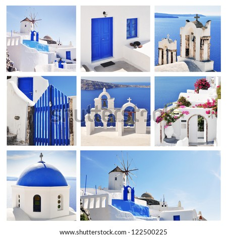 Collage of Santorini (Greece) images
