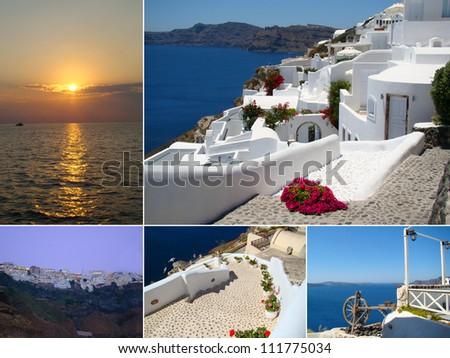 Collage of Santorini island, Greece - stock photo