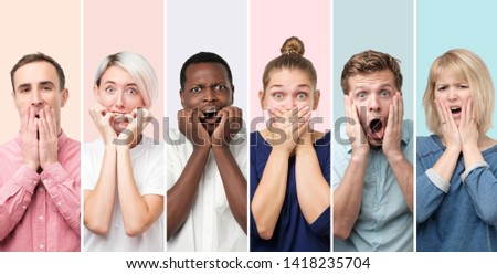 Collage of scared and shocked men and women having surprised and astonished facial expression while receiving shocking unexpected news, covering mouth with hand.