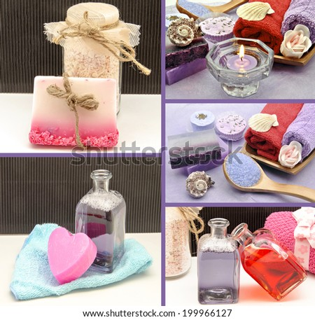 Collage of scented soaps and hygiene products