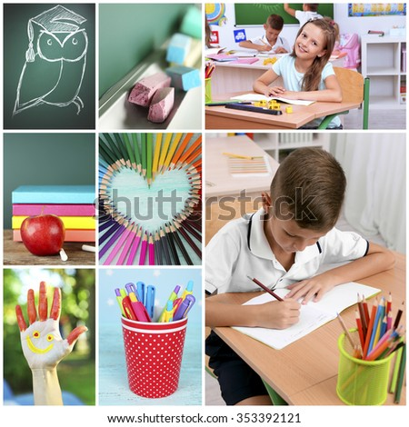 Collage of school children in studying process and education tools