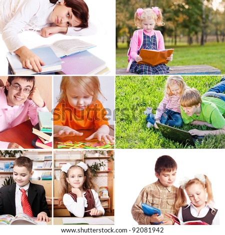 Collage of schoolchildren in studying process