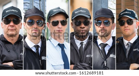 Collage Of Security Guards. Diverse Group Of People Portraits
