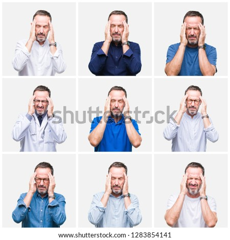 Collage of senior hoary elegant man over white isolated background with hand on head for pain in head because stress. Suffering migraine. #1283854141