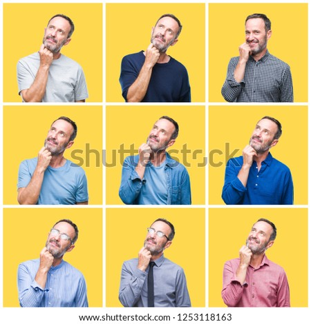 Collage of senior hoary elegant man over yellow isolated background with hand on chin thinking about question, pensive expression. Smiling with thoughtful face. Doubt concept. #1253118163