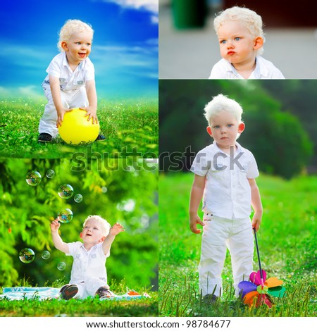 Collage of several photos. cute boy and different children's emotions. design template