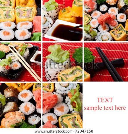 Collage of several photos japanese sushi