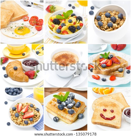 collage of several types of breakfast