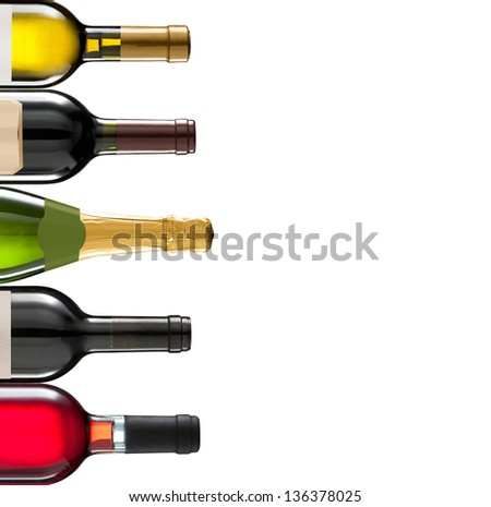 Collage of several wine bottles with space for your logo or text #136378025