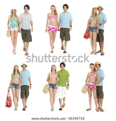 Collage of sexy couple in beach clothing, going on vacation