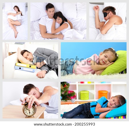 Collage of sleeping people