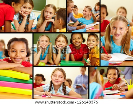 Collage of smart schoolchildren at lesson in classroom