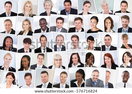 Collage Of Smiling Multiethnic Business People Group