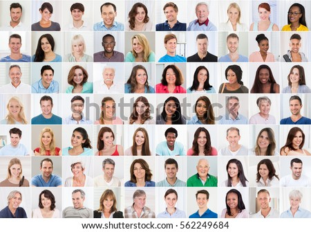 Collage Of Smiling Multiethnic People Portraits And Faces #562249684