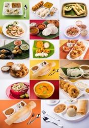 collage of south indian food like idli, vada sambar, sambar, dosa,uttapam, rava appe, roll dosa, upama