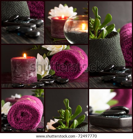 Collage of spa details with candles, towel and massage stones.