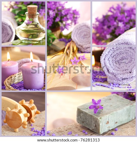 Collage of spa products.