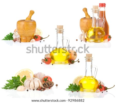 collage of spice and food ingredients isolated on white background - stock photo