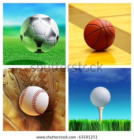 collage of sport balls which correspond to the game